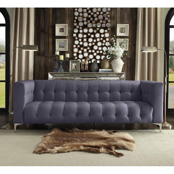 Sandi Linen Biscuit Tufted Silvertone Y-leg Sofa By Rosdorf Park 2019 Coupon