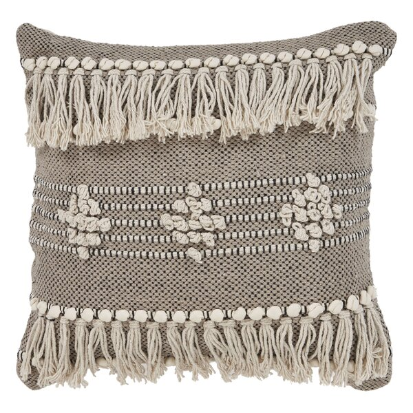 Racine Fringe Cotton Throw Pillow by Bungalow Rose