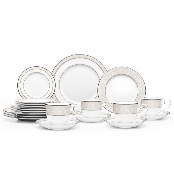 Montvale Platinum Bone China 20 Piece Dinnerware Set, Service for 4 by Noritake