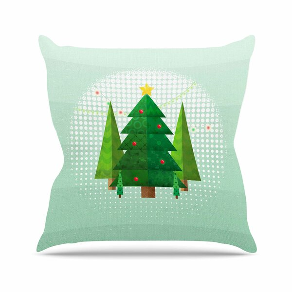 Noonday Design Geometric Christmas Tree Outdoor Throw Pillow by East Urban Home