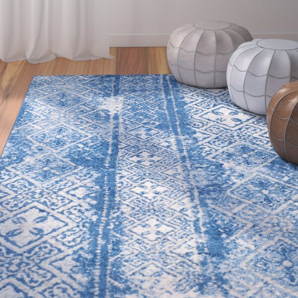 North Brookfield Beige/Blue Area Rug by Bungalow Rose