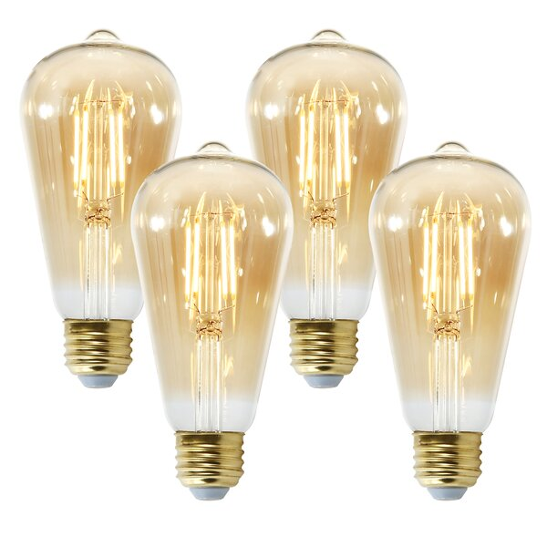 Holland 6W E26 Dimmable LED Edison Light Bulb Amber (Set of 4) by Light Society