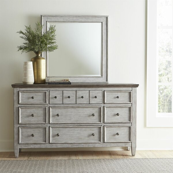 12 Drawer Double Dresser with Mirror by Feminine French Country