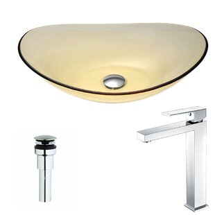 Comparison Mesto Glass Oval Vessel Bathroom Sink with Faucet By ANZZI