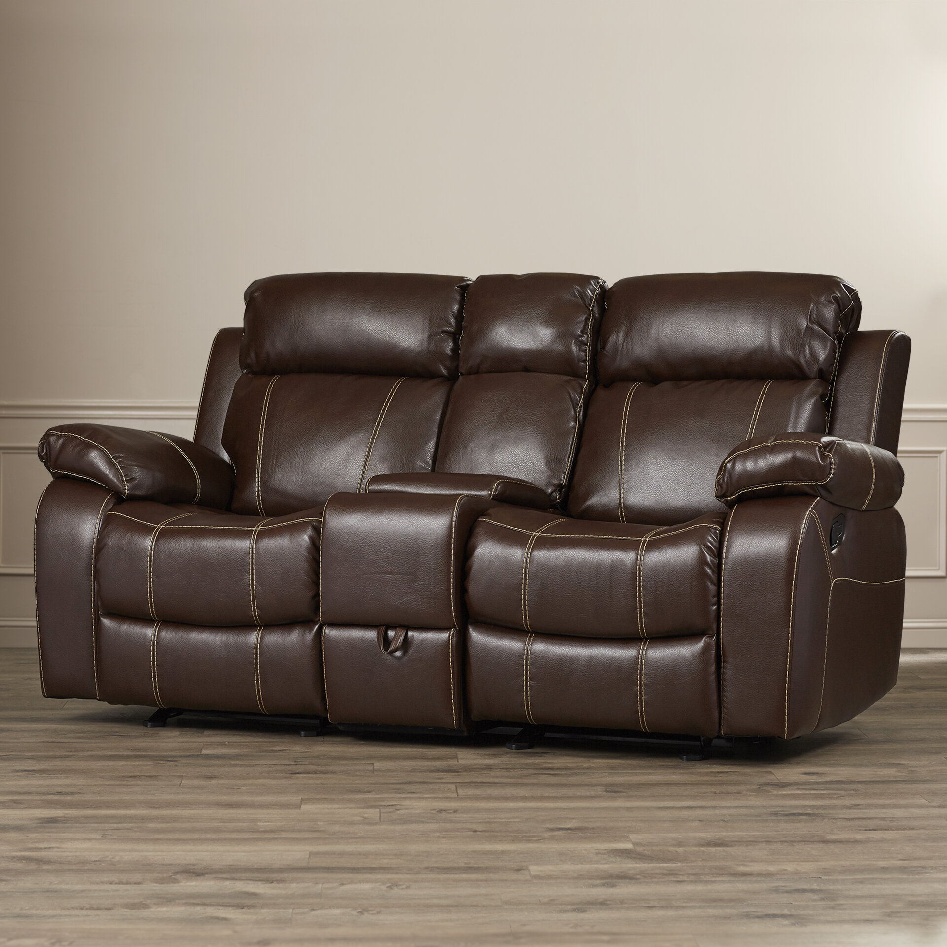 with reclining double sofa barrettsville seat durablend wedge recliner loveat clsd chocolate console