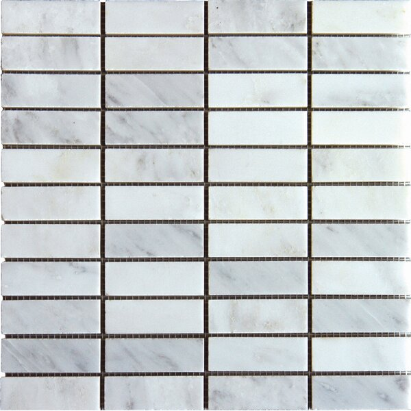 Arabescato Carrara 1'' x 3'' Marble Mosaic Tile by