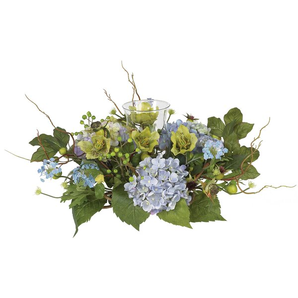 Hydrangea Candleholder in Blue by Nearly Natural