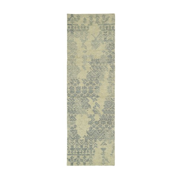 Stockman Hand-Tufted Wool Denim/Beige Area Rug by Wrought Studio