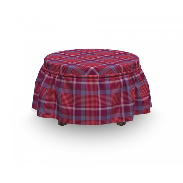Review Checkered Retro British Culture 2 Piece Box Cushion Ottoman Slipcover Set