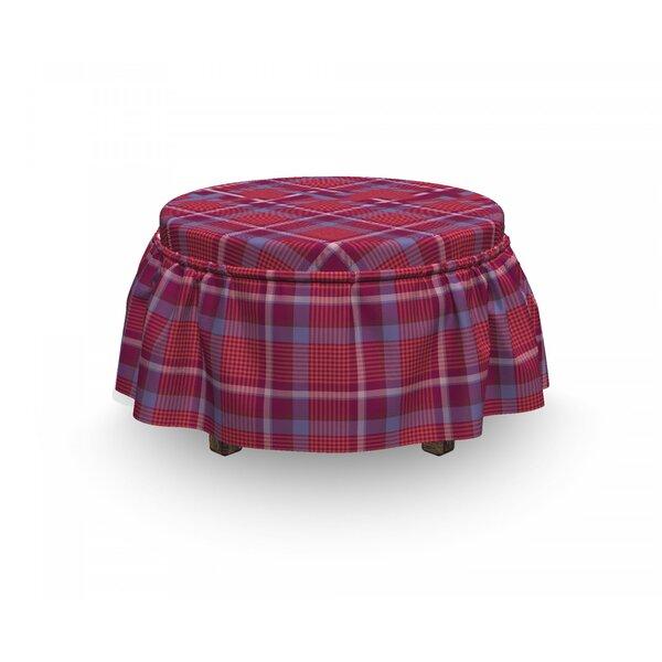 Home Décor Checkered Retro British Culture 2 Piece Box Cushion Ottoman Slipcover Set