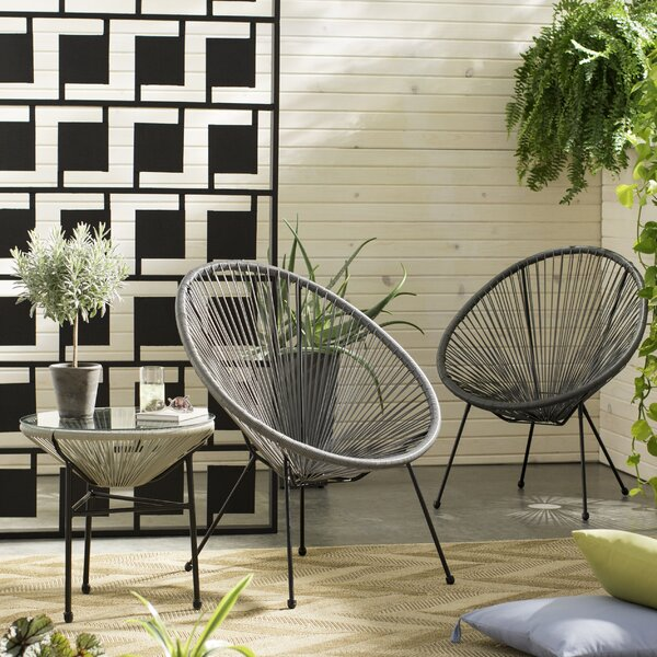 Zion 3 Piece Rattan 2 Person Seating Group Langley Street™ LGLY7167