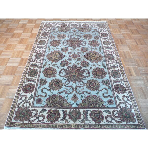 One-of-a-Kind Railey Hand-Knotted Sky Blue Area Rug by Astoria Grand