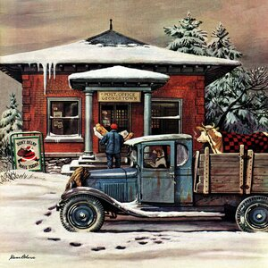 Rural Post Office at Christmas by Stevan Dohanos Painting Print on Wrapped Canvas