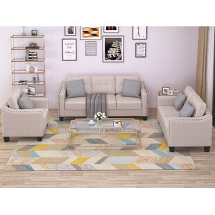 3 Piece Living Room Set With 3 Seat Sofa, Love Seat, And Armchair Tufted And Naihead Trim by Latitude Run®
