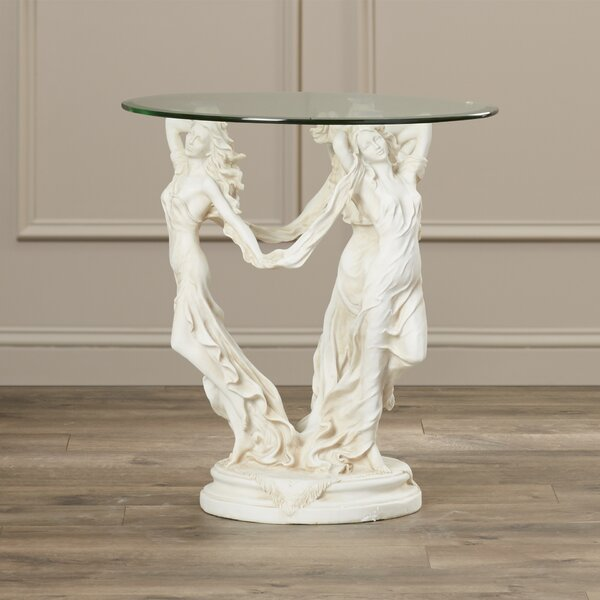 Beldin Glass Topped Sculptural End Table by Astoria Grand