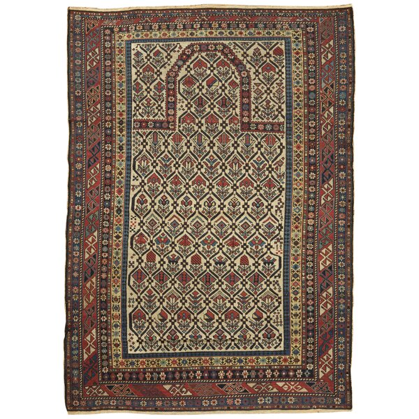 One-of-a-Kind Hand-Knotted Before 1900 Brown 4'2 x 5'7 Wool Area Rug