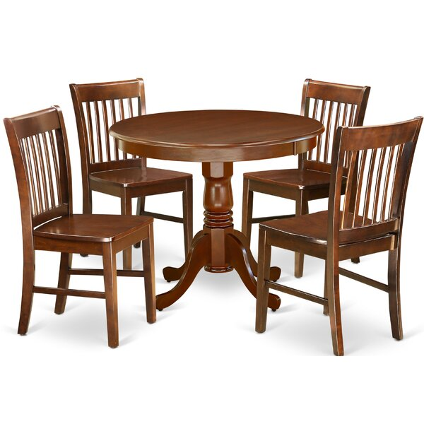 Delois 5 Piece Solid Wood Dining Set by Alcott Hill Alcott Hill