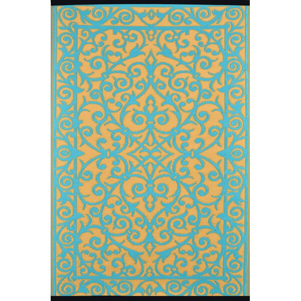 Lightweight Reversible Gala Saffron/Blue Turquoise Indoor/Outdoor Area Rug by Wildon Home®