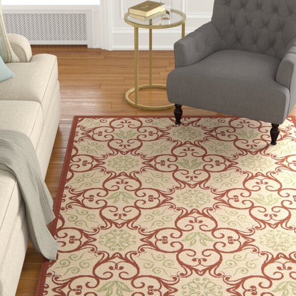 Carleton Ivory & Rust Indoor/Outdoor Area Rug by Alcott Hill