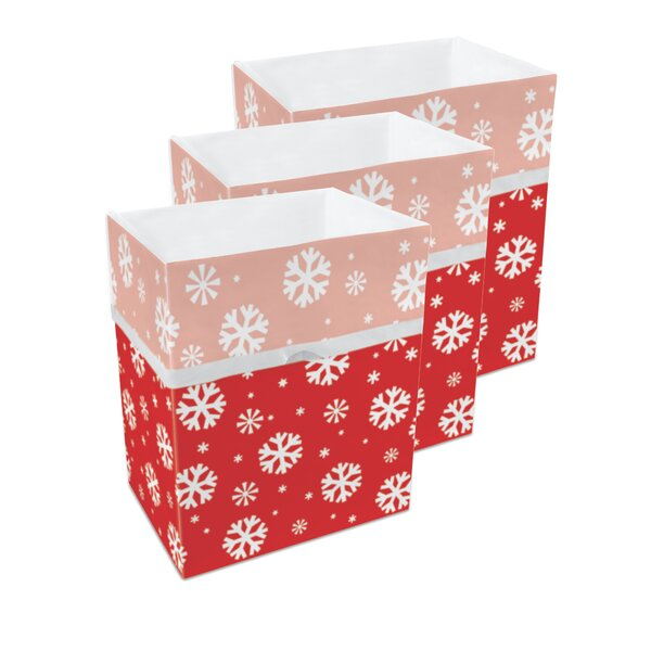 Snowflake Pattern 10 Gallon Trash Can (Set of 3) by Clean Cubes LLC