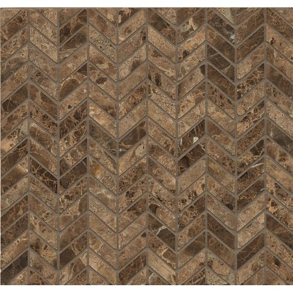 Chevron Marble Polished Mosaic Tile in Emperador Dark by Grayson Martin
