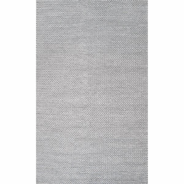 Makenzie Woolen Cable Hand-Woven Light Gray Area Rug by Langley Street