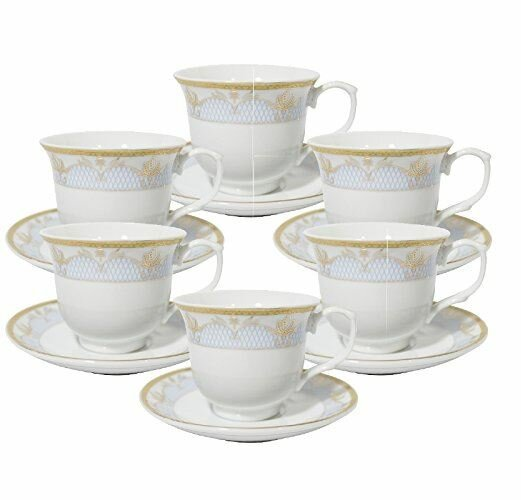 Floral Tea Cup and Saucer Set (Set of 6) by Imperial Gift Co.