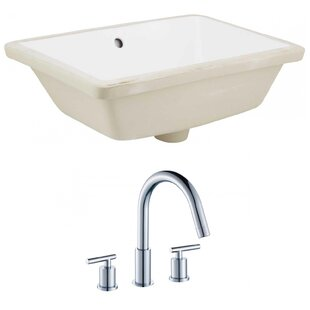 Best Reviews Ceramic Rectangular Undermount Bathroom Sink with Faucet and Overflow ByAmerican Imaginations