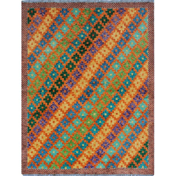 One-of-a-Kind Millender Sharifa Hand-Knotted Wool Blue/Yellow/Orange Are Rug by Bloomsbury Market