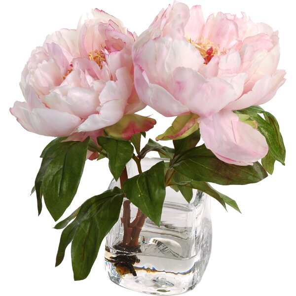 Faux Peony Floral Arrangement in Vase by New Growth Designs