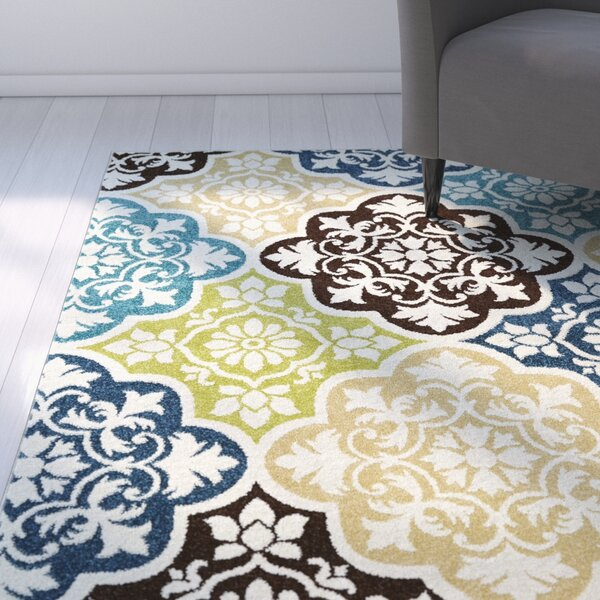 Yvette Summertile Ivory/Blue Area Rug by Latitude Run