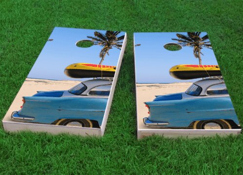 Beach Car Theme Cornhole Game (Set of 2) by Custom Cornhole Boards