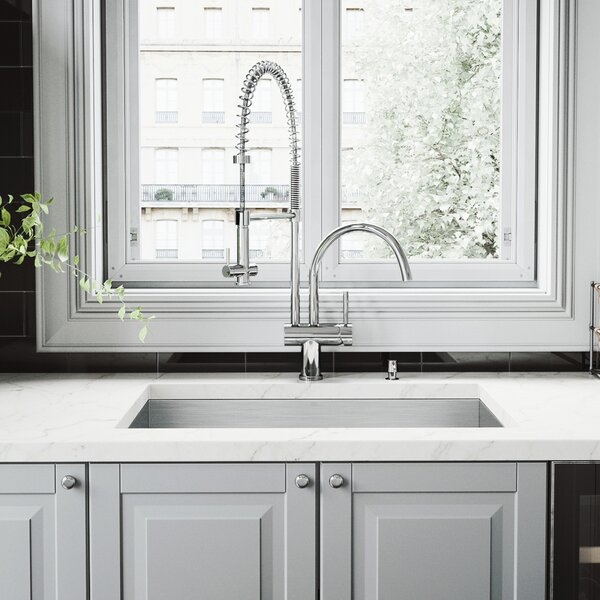 30 inch Undermount Single Bowl 16 Gauge Stainless Steel Kitchen Sink with Dresden Chrome Faucet, Grid, Strainer and Soap Dispenser by VIGO