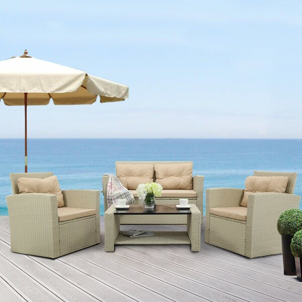 Rosado 4 Piece Rattan Sofa Seating Group with Cushions by Rosalind Wheeler