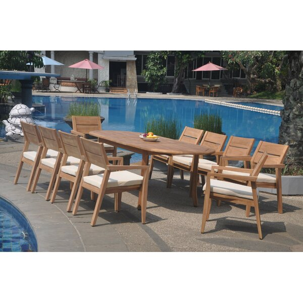 Pioche 11 Piece Teak Dining Set by Rosecliff Heights