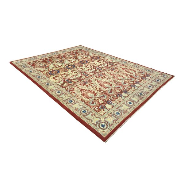 One-of-a-Kind Zastrow Hand-Knotted 2010s Red/Beige 10'3 x 13'5 Wool Area Rug