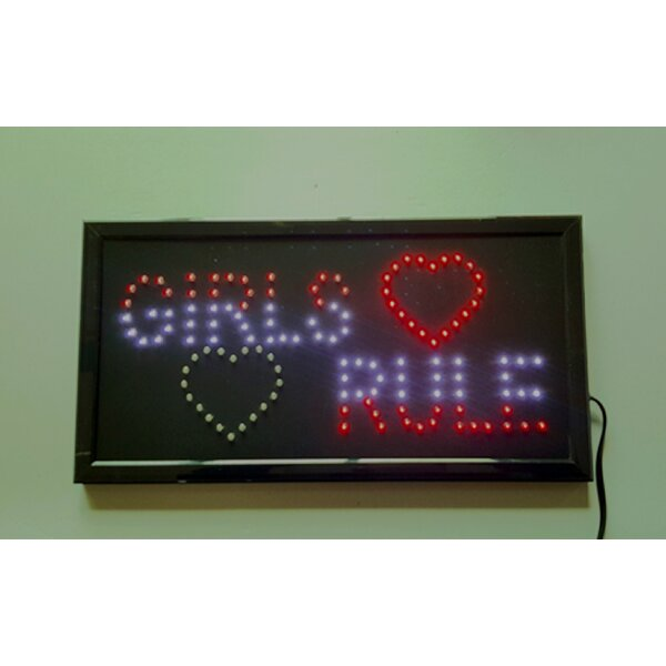 Electrical Girls Rule LED Sign by Creative Motion