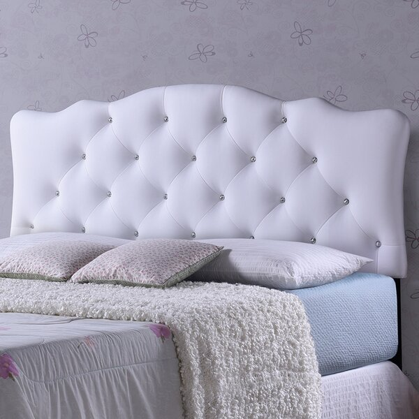 Whidden White Scalloped Queen Upholstered Panel Headboard by House of Hampton
