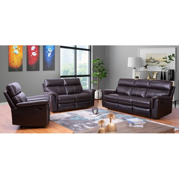 Paden 3 Piece Leather Reclining Living Room Set (Set of 3) by Red Barrel Studio