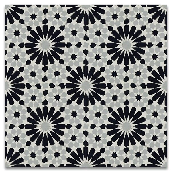 Agdal 8 x 8 Cement Tile in Black/Gray by Moroccan Mosaic