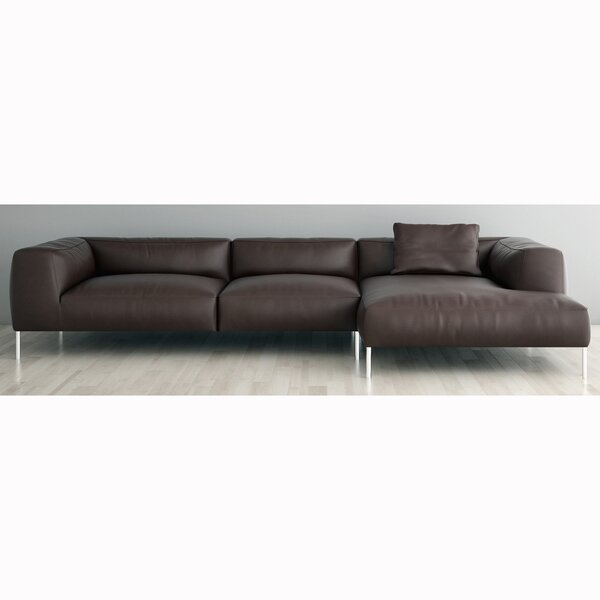 Velia Right Hand Facing Leather Sectional By Orren Ellis