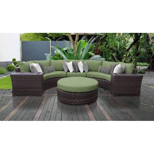 River Brook 6 Piece Outdoor Wicker Patio Furniture Set 06c by kathy ireland Homes & Gardens by TK Classics