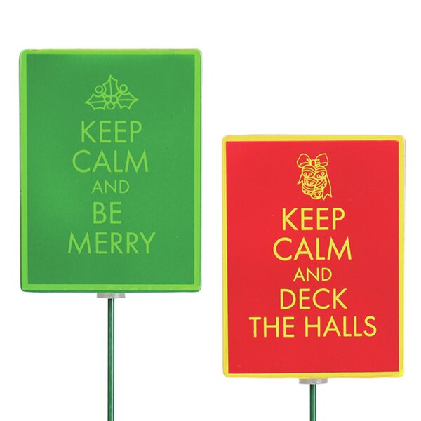 2 Piece Keep Calm Stake Set by Exhart