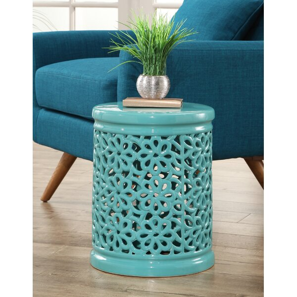 Burkholder Floral Cutout Garden Stool by Bungalow Rose