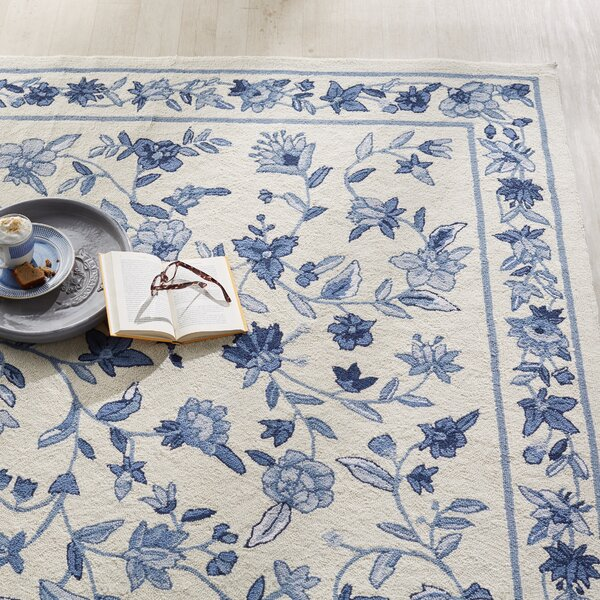Labrosse Ivory/Blue Floral Area Rug by August Grove
