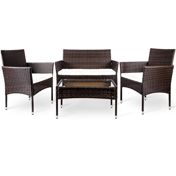 Porterdale Patio 4 Piece Rattan Sofa Seating Group with Cushions by Bay Isle Home