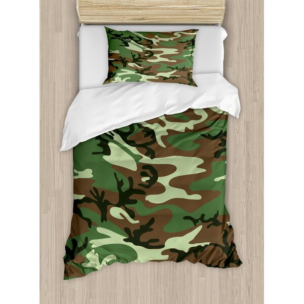 Camo Classical American Commando Uniform Inspired Pattern Forest Tile Duvet Set By Ambesonne.