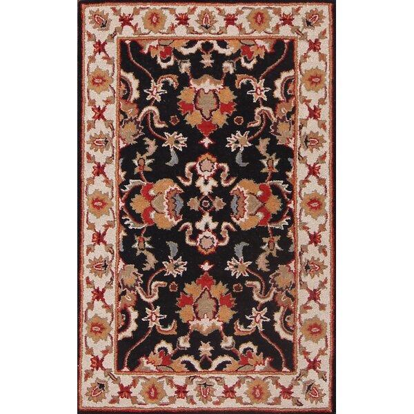 Dearmond Traditional Agra Oriental Hand-Tufted Wool Beige/Black/Red Area Rug by Bloomsbury Market