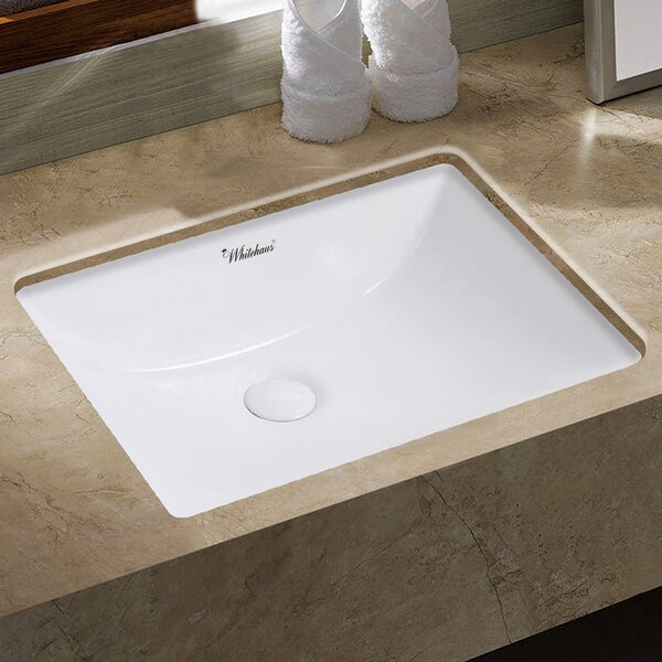 Isabella Plus Vitreous China Rectangular Undermount Bathroom Sink with Overflow by Whitehaus Collection
