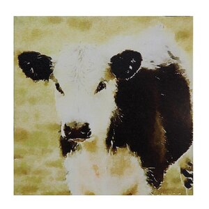 'Cow' Painting Print on Wrapped Canvas by Creative Co-Op